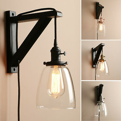 """5.6"""" Cloche Clear Glass Vintage Industrial Wall Lamp Sconce Plug In Light Decor"""