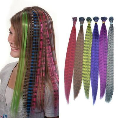 Hot Grizzly Feather I Tip Hair Extension Multi-color 12 colors human made