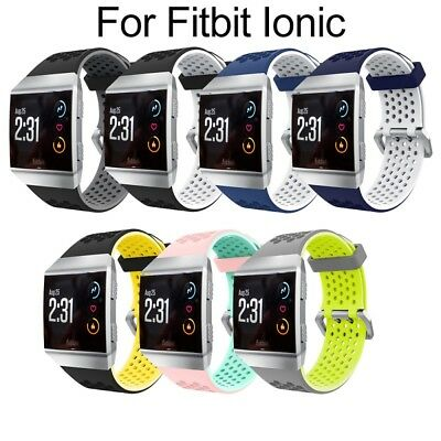 UK Breathable Bicolor Silicone Sport Watch Band Wristband Strap For Fitbit Ionic