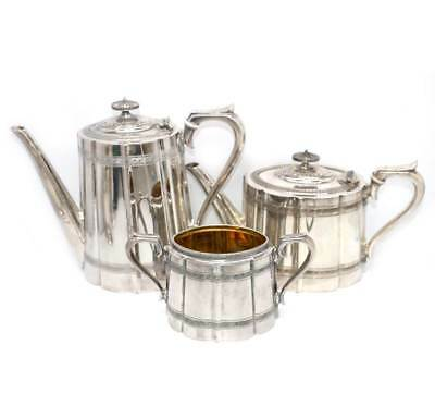 Antique EPBM silver plated James Dixon 3 piece teapot, coffee pot & sugar bowl