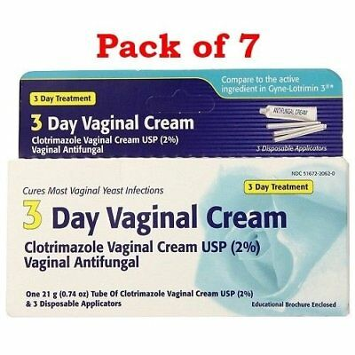 Clotrimazole 3 Day Vaginal Cream, 0.74 oz  (Pack of 7)