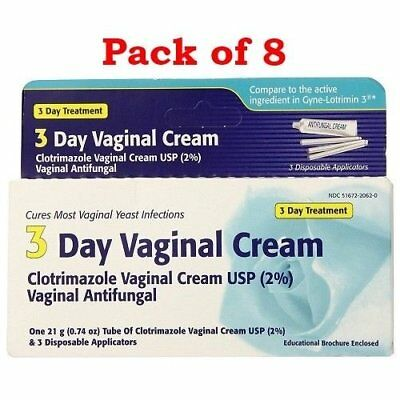 Clotrimazole 3 Day Vaginal Cream, 0.74 oz  (Pack of 8)