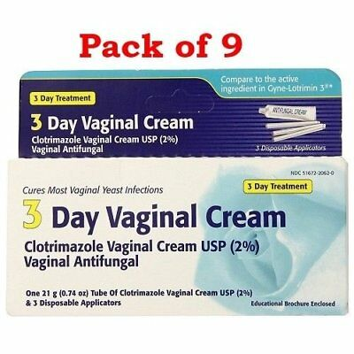 Clotrimazole 3 Day Vaginal Cream, 0.74 oz  (Pack of 9)