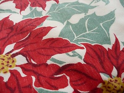 Vintage Christmas Tablecloth Mid-Century Cotton Poinsettias & Candles w/ Holly