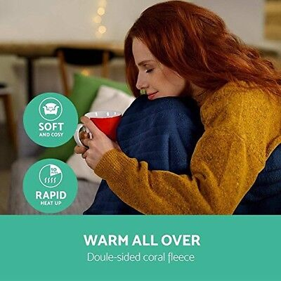 Washable Heated Electric Throw Rug Snuggle Blanket Coral Fleece Heat Hot Winter