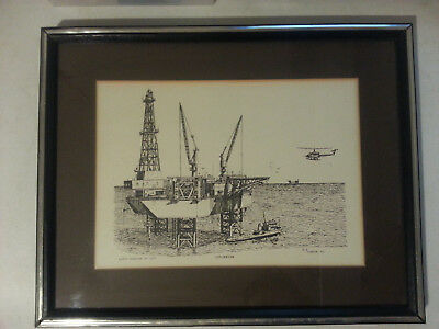 Exploration Nicholas Engineering Art Series Al Richardson 1977 Offshore Oil Rig
