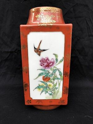 Antique Chinese Famille Rose Porcelain Cong Vase Iron Red Qing Dynasty Signed