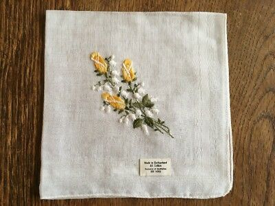 Vtg Cotton Switzerland Handkerchief Embroidered Yellow Rose Lily Of The Valley