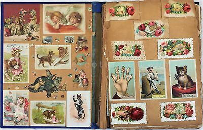 1880s antique victorian DIE CUT 56pg SCRAPBOOK philadelphia pa area GRUBB GROFF+