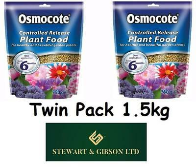 2 x Osmocote Controlled Release Plant Food Pouch - 750g TWIN PACK (1.5kg)