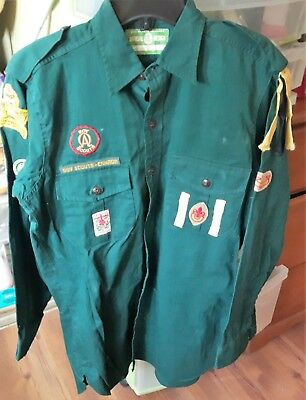 Vintage Boy Scouts Canada Shirt with Badges Size Men's 14