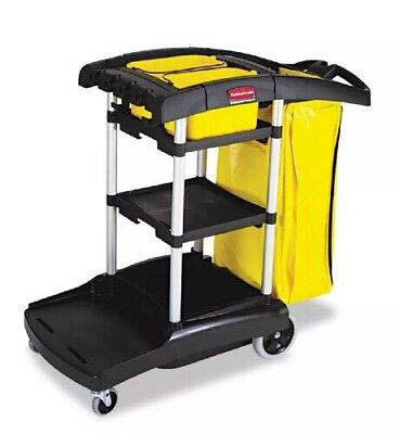 Rubbermaid High Capacity Cleaning Cart Black 5 CuFt Storage Space 9T72 Janitor