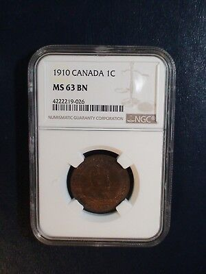 1910 Canada LARGE Cent NGC MS63 BN 1C Coin PRICED TO SELL RIGHT NOW!
