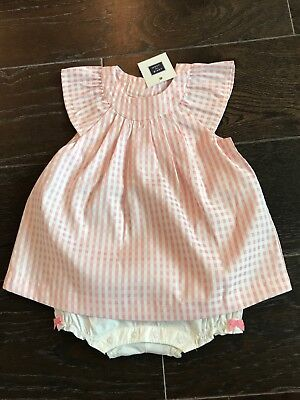 janie and jack pink and white gingham one piece 18-24 NWT