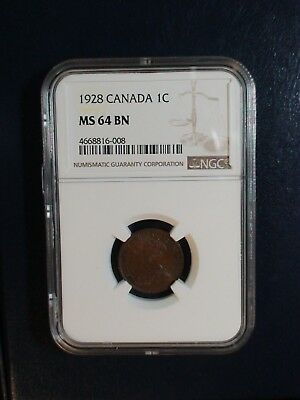 1928 Canada Small Cent NGC MS64 BN 1C Coin PRICED TO SELL RIGHT NOW!