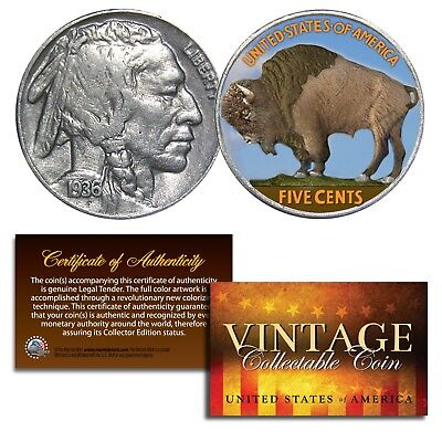 1930's 5 Cent Original Indian Head Buffalo Nickel Coin Full Date - COLORIZED