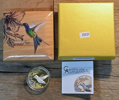 2017 Shades Of Nature, Hummingbird Gold Gilded  $5 Silver Coin, Cook Islands