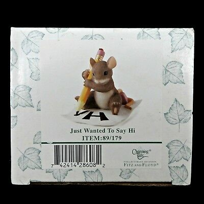 Fitz and Floyd Charming Tails Just Wanted to Say Hi Mouse Figurine 89/179 in Box