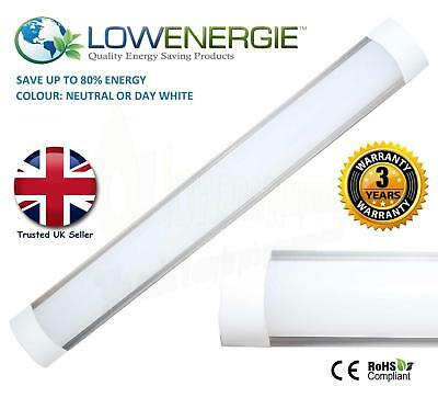 LED Batten Slimline Tube Light Wall/Ceiling Slim Natural Day White 3ft 900mm