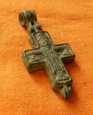 A130. Byzantine style bronze reliquary double faced cross.Encolpion