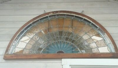 Stained Glass Window Arch Window, Early 1900s, Architectural Salvage
