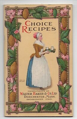1926 Walter Baker Chocolate Recipe Booklet w/ Color Inserts and Embossed Cover