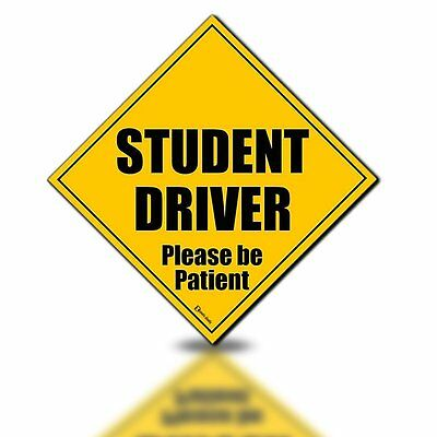 """Zento Deals Student Driver Please Be Patient 5""""x5"""" Magnet Safety Car Sign Decal"""