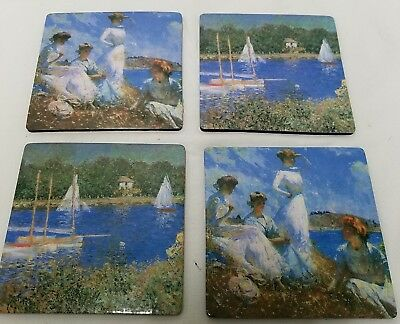 "4 Impressionistic Monet Art Coasters 4"" X 4"" Cork Back Pre Owned"