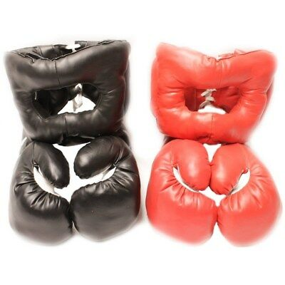 2 PAIRS XL 20 OZ EXTRA LARGE BOXING PRACTICE TRAINING GLOVES w/ HEAD GEAR SET