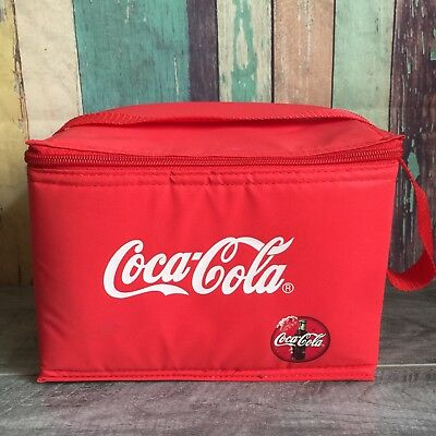 """Red, NEW Coca Cola Zip Lunch Bag tote 9"""" x 6"""" x 6"""" Red, Cooler"""