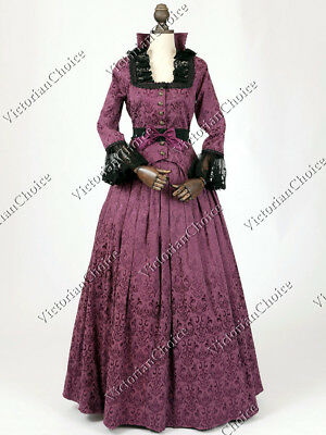 Victorian Edwardian Dickens Christmas Gown Dress Reenactment Costume N CF006