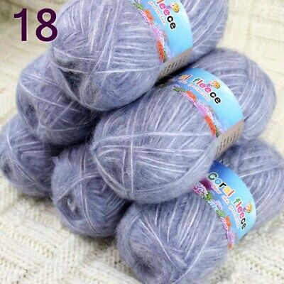 AIP Sale New 2 Skeins X 50g Mohair Angora Cashmere Wrap Shawls Hand Knit Yarn 34