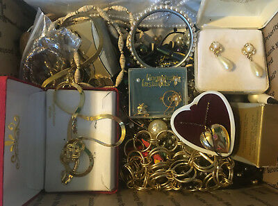 Estate Vintage - Now  Mixed Costume Jewelry Lot Flat Rate Box Full!