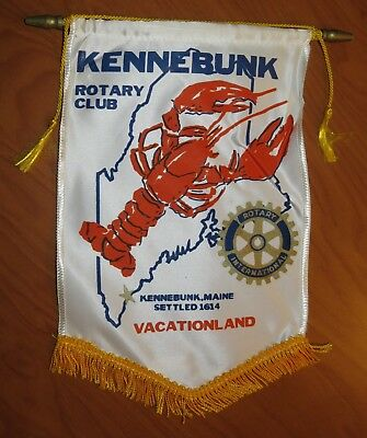 Vintage Kennebunk Maine Rotary International Club Banner Flag