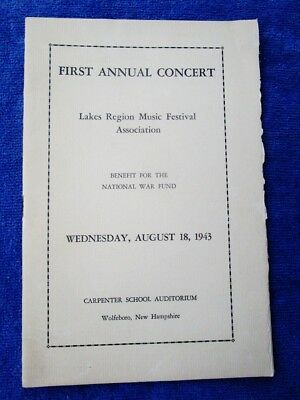1943 Concert Lakes Region Music Festival WOLFEBORO, NH - WWII, Boys Girls Camps