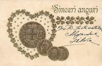EARLY 1900's VINTAGE ITALIAN EMBOSSED GOLD GILT HEART CLOVER & COINS POSTCARD
