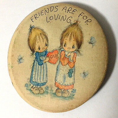 Betsy Clark flat metal pin 1981 Hallmark  Friends are for Loving collectible