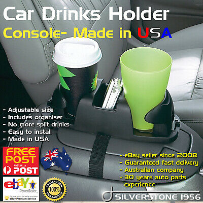 Twin Cup Drinks Bottle Holder Truck Van Car Centre Console Storage Organiser