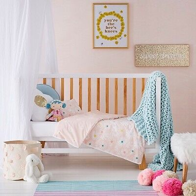Adairs Kids Cot Daisy, Girls Nursery Cot Quilt Cover New Unopened was $99.95