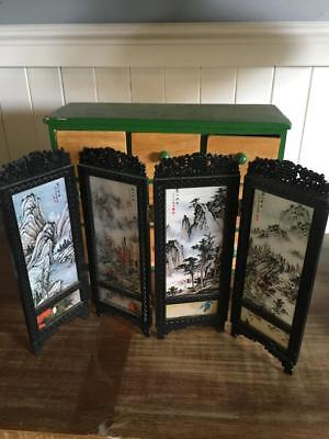 Vintage Miniature Chinese Room Divider/4 Panel/folding Screen - Rare