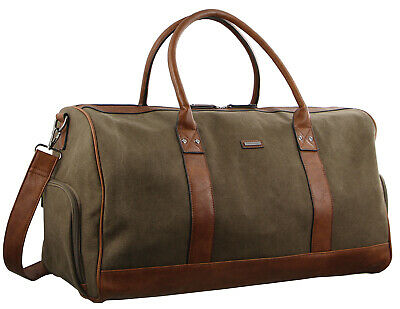 Pierre Cardin Urban Canvas Overnight Duffle Bag - Black Brown