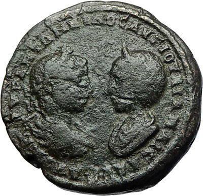 ELAGABALUS & JULIA MAESA Authentic Ancient 218AD Marcianopolis Roman Coin i71053