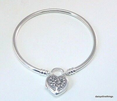 Authentic Pandora Silver Bangle Bracelet Flourishing Heart Padlock #b800873-19