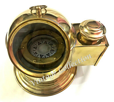 Vintage Brass Floating Dial Binnacle Gimbled Helmet Compass Ship/Boat Oil Lamp