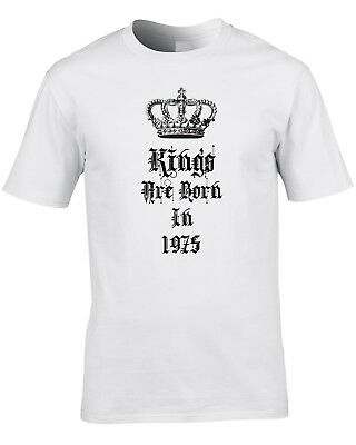 Kings Are Born In 1975 Mens T-Shirt 44th Forty Four Birthday Gift Idea Royal