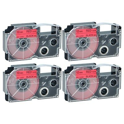 """4PK XR-12RD Black on Red Label Tape for Casio KL-60 100 7000 8200 8800 1/2"""""""