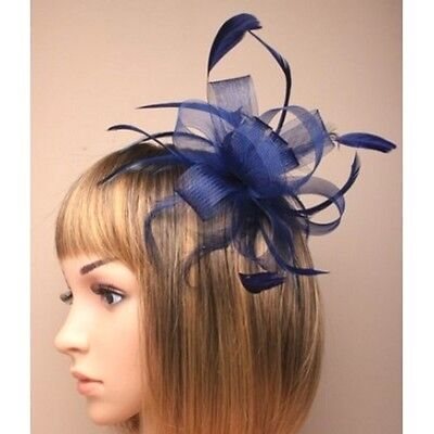 Navy Blue  Looped Net Ribbon & Feather Fascinator on Clear Comb
