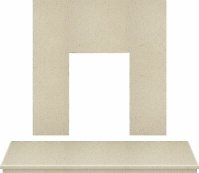 Adam Fireplace Back Panel and Hearth Set in Marfil Stone, 48 Inch