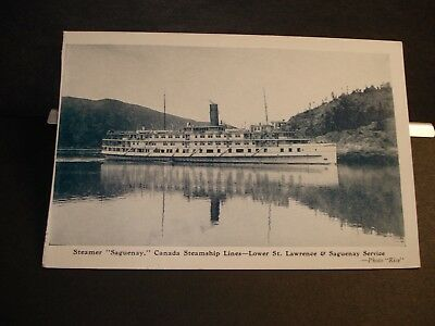 Steamer SAGUENAY, CANADA STEAMSHIP LINES Naval Cover unused St. LAWRENCE