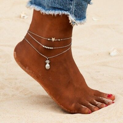 3 Pcs Boho Multilayer Star Pineapple Beads Chain Pendant Anklet Sets for Womens